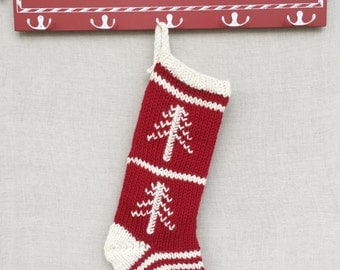 Red and Cream Knit Christmas Stocking- Stockings Christmas- Traditional Christmas Stocking- Rustic Christmas