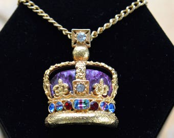 "Enamel, Rhinestone Royal Crown Pendant Necklace, Purple, Multi-Colored, Gold tone, 23"" (C9)"