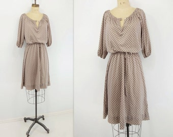 Vintage Beige Dress 80s Beige Day Dress 80s Beige Midi Dress Boho Beige Dress Tie Print Dress 70s Boho Dress 70s Peasant Dress s