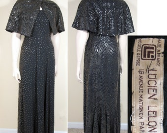Late 1940s - Early 1950s Sequined Black Crepe Evening Gown and Capelet by Lucien Lelong SZ S