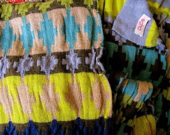 Vintage ECHO Scarf, Colorful Long Echo Scarf, Knit Vintage ECHO Scarf, Vivid ECHO label scarf