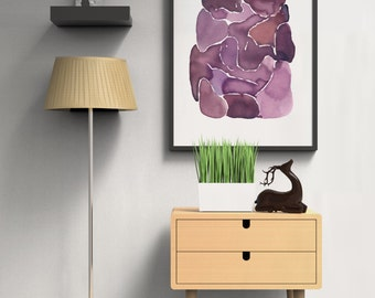 """Abstract Painting """"Plum Tickled"""" by Jules Tillman Fine Art Lustre Print modern mixed media minimal watercolor painting purple art violet"""