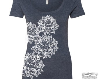 Womens Lotus BLOSSOMS Scoop Neck Tee - T Shirt S M L XL XXL (+ Colors) Zen Threads