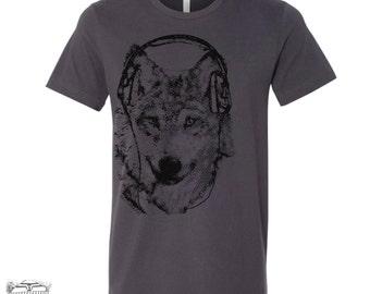 Men's WOLF (in Headphones) t shirt  s m l xl xxl (+ Color Options)