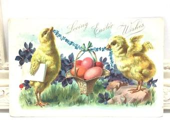 Vintage Easter Postcard, Vintage Postcard, Easter Card, Easter Ephemera, Easter Greetings, Yellow Chicks, Undivided Back, Tuck Postcard