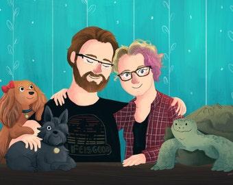 Custom Family Portrait Illustration (Deluxe Color style) - Aniversary Gift, Cartoon Family, Wedding portrait gift, Custom Portrait Couple