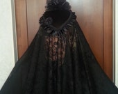 "Ladies Black Veil, Civil War Era Mouring Veil Black lace 45"" x 48"""