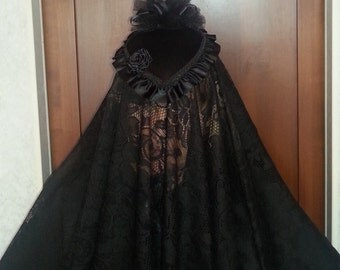 "Ladies Black Veil, Civil War Era Mouring Veil Black lace 45"" x 48"""