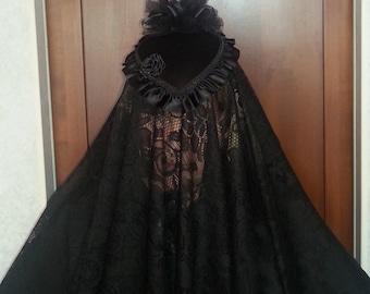 "Ladies Black Veil, Civil War Era Mourning Veil Black lace 45"" x 48"""
