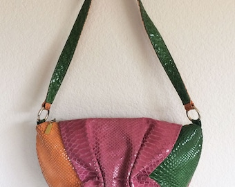 Vintage Leather Valerie Jean Snakeskin Purse Shoulder Bag textured Pink Orange Green Bag