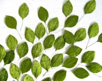 Lot of 95 Vintage Green Velvet Millinery Leaves | Green Velvet Leaves | Craft Supplies