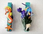 Sealife Fish and Seahorse Whimsical clothespin Magnet