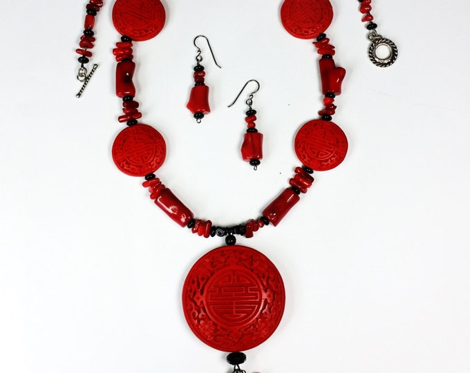 Red Faux Cinnabar Pendant Necklace Set with Coral and Onyx