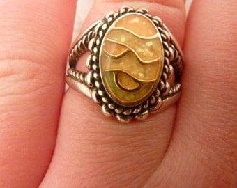 Vintage Enamel Sterling Silver Ring