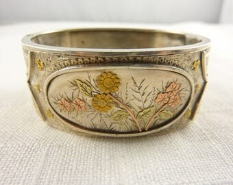 Late 1800's Victorian English Sterling Aesthetic Period Handmade Applied Mixed Metals Hinged Bangle Bracelet By W & Co