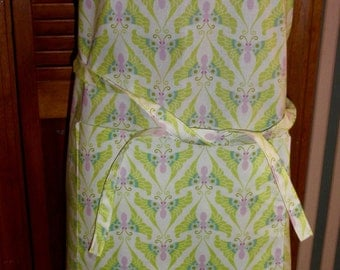 Simply Sheila adult apron lime green purple blue beige designer print