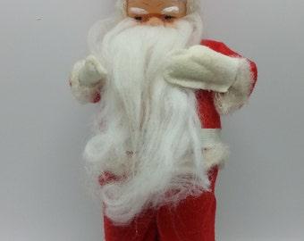 1960s Vintage Red Felt Santa with Felt Suit Rubber Face plastic white boots 14 Inch Santa Decoration