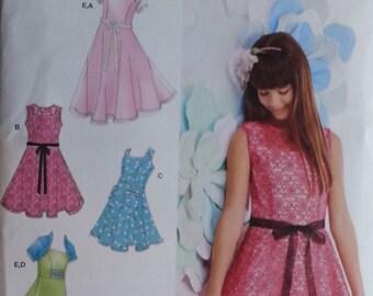 Simplicity 1213 Girls Summer Sleeveless Dress Plus Pattern Size 8 1/2 -16 1/2 includes Knit Shrug