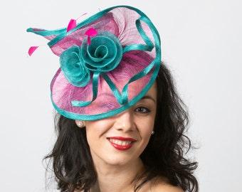 SALE! Kentucky Derby Fascinator hat pink peacock blue wedding fascinator derby KENTUCKY DERBY