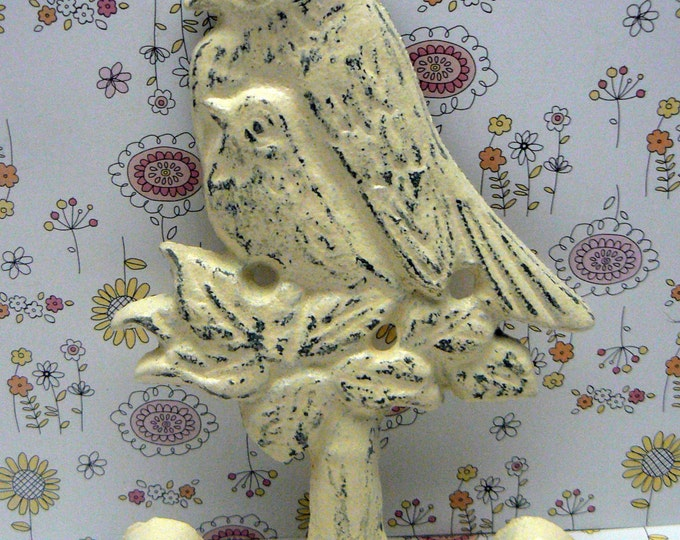 Bird Cast Iron Wall Hook Shabby Chic Ivory Off White Nursery Home Decor