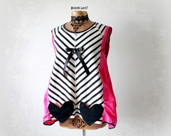 Slouchy Tunic Heart Pockets Hot Pink Shirt Boho Clothing Women's Upcycled Top Black White Stripe Mori Girl Clothes Eco Friendly S M 'PORTIA'