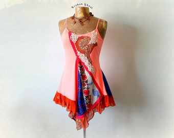 Women's Gypsy Tank Coral Boho Top Upcycled Clothing Stretchy Layered Shirt Hippie Clothes Art To Wear Bohemian Tank Eco Wear M L 'QUINN'
