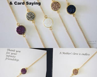 Small Gold Druzy Bracelet Double Sided, Crystal Bracelet, Small Druzy Pendant, Gold Filled, Frost Pendant, Natural, Natural Stone