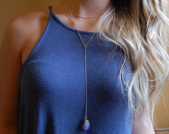 Gold Dipped Amethyst Raw Nugget Stone Lariat Necklace with Gold Chain