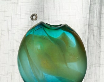 Hand Blown Art  GlassTall Flat Sided Lanscape Colored Vase