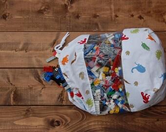 Dinosaur Peekaboo Vinyl Toy Storage Bag Size Medium