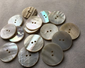 14 Buttons 27mm Mother of Pearl 44L  for Knitting, Jewelry, Garments, Crafts BU 100