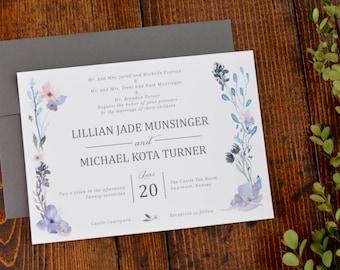 Springtime Floral Wedding Invitation Set - Invite and Response Card