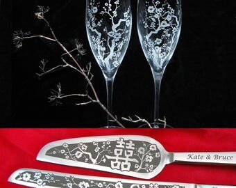 Cherry Blossom Double Happiness Champagne Glasses, Wedding Cake Server Set, Chinese Wedding Flutes, Reception Decor