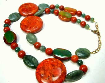 Red Green Jasper STONE Bead Necklace,  Boho Earthy Semi-Precious Necklace, Added On Extender Chain