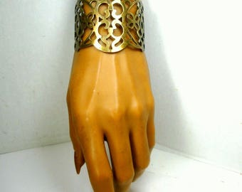 Brass Warrior Cuff,  Pierced Medieval Thrones Game Metal Work Bracelet, Used, Scuffed, But Hey, It is Tribal