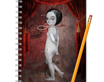 Spiral Notebook - Handmade Journal - Voodoo Doll Notebook - LINED OR BLANK pages, You Choose
