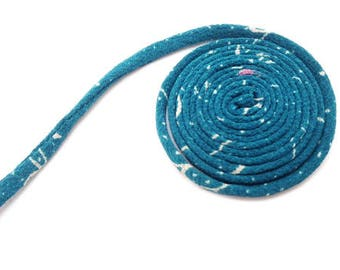 KOFU cord 5mm - made with antique Kimono, silk, 1m, color turquoise blue, Chirimen