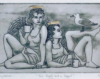 Original etching: 'Two Angels and a Seagull' - embellished with gold leaf, from an edition of 7 prints, Nancy Farmer, UK artist.