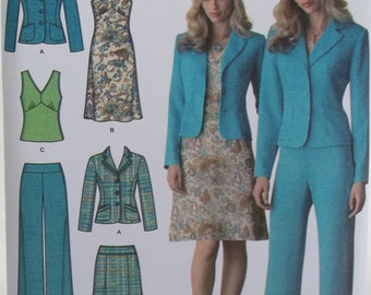 Women's' Career Wardrobe, Simplicity 4273 Sewing Pattern, Flared Skirt, Dress, Sleeveless Fitted Top, Pants, Fitted Jacket Plus Size 16 - 24