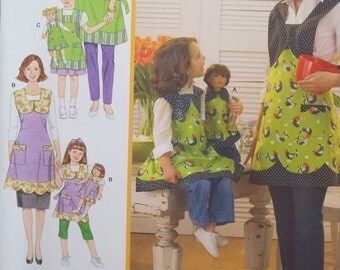 """Mommy and Me Aprons, Simplicity 3746 Sewing Pattern, 18"""" Doll Apron, Scalloped Hem Bib Apron with Pockets, Adult and Child Full Apron UNCUT"""