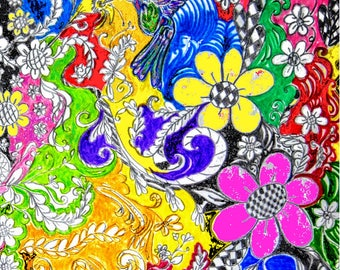 Garden Colored Pencil Pen And Ink Art Print On Cardstock