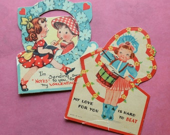 Vintage Valentine Cards Girl Drummer Boy Playing Flute Musical