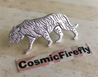 Tiger Tie Tack Silver Plated Lapel Pin Hat Pin Victorian Steampunk Jungle Animal Pin Tiger Pin