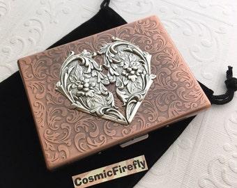 Big Copper Cigarette Case Silver Heart Big Card Wallet Copper Case Gothic Victorian Heart Art Nouveau Style Vintage Style Copper Steampunk G
