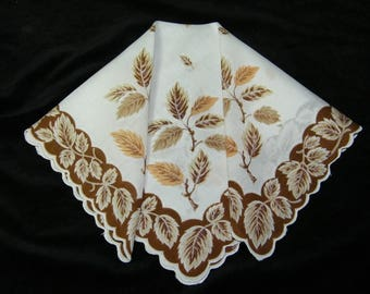 "Vintage 13"" Scalloped Fall Autumn Leaves Leaf Floral Wedding Favor, Craft Handkerchief - 9806"