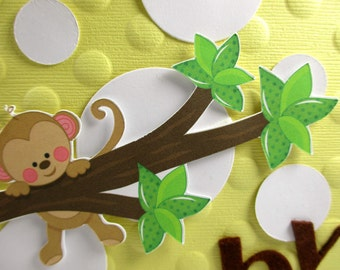 Baby boy cards, baby girl cards, welcome baby, baby cards, baby shower cards, monkey cards, embossed