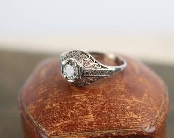 antique diamond + 19k white gold filigree ring engagement wedding statement edwardian victorian 1900s