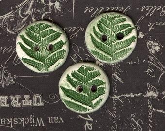 Handmade ceramic buttons Artisan ceramic fern leaf buttons Large ceramic button green button porcelain buttons natural button rustic button