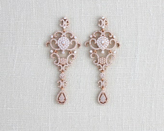 Rose Gold earrings, Bridal earrings, Bridal jewelry, Chandelier earrings, Crystal earrings, Statement earrings, Swarovski earrings, Vintage