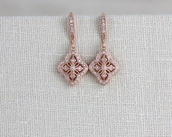 Rose Gold earrings, Crystal Bridal earrings, Simple Wedding earrings, Bridal jewelry, Art Deco earrings, Dangle earrings, Bridesmaid, ADDIA